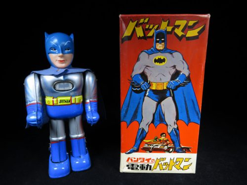 Tin Batman with Lighted Emblem and Original Toy Box;