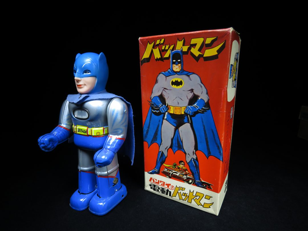 Tin Batman with Lighted Emblem and Original Toy Box;