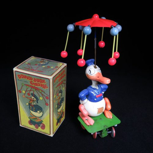 Vintage Antique Tin and Celluloid Donald Duck Walt Disney Carousel Wind-up Borgfeldt Japan