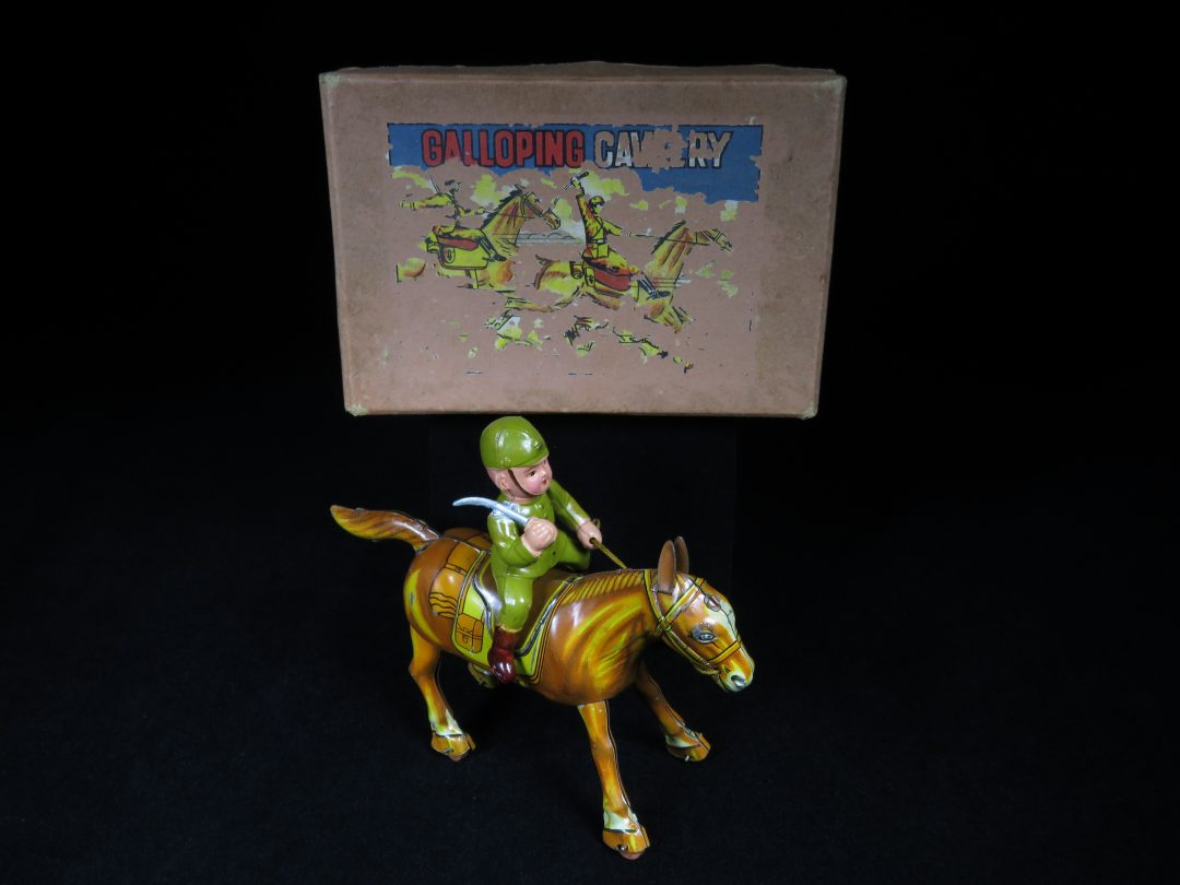 Vintage Antique Prewar Japan Tin Lithograph Wind-Up Galloping Soldier on Horse Cavalry Toy