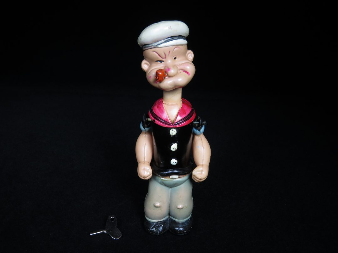 Vintage Antique Tin and Celluloid Popeye the Sailor Man Mechanical Wind-up Toy Prewar Japan
