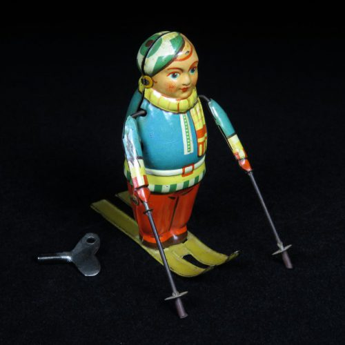 Vintage Antique Tin Lithograph Winter Mountain Skier Wind-up Toy Germany
