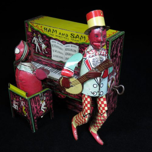 Vintage Antique Tin Lithograph Ham and Sam with Piano Black Americana Wind-up Toy Strauss USA