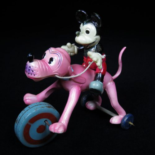Vintage Antique Tin and Celluloid Mickey Mouse Riding Pluto Wind-up Toy Masudaya Occupied Japan