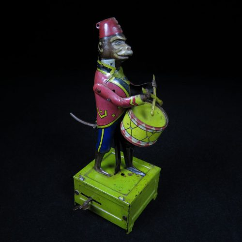 Vintage Antique Tin Lithograph Parading Monkey Drummer Wind-up Toy Distler Germany