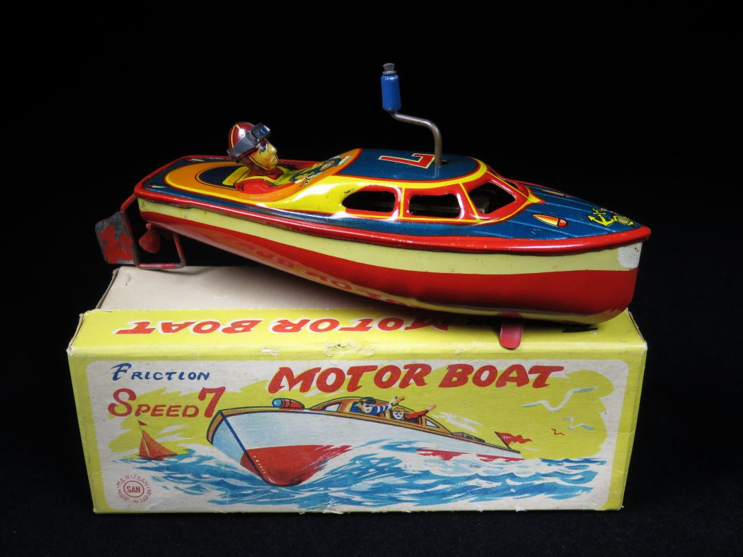 Antique Vintage Speed 7 Motor Boat Tin Lithograph Wind-up Japan Boxed