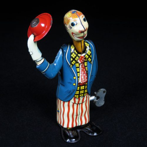 Vintage Antique Tin Lithograph Wind-up Circus Clown Tipping Hat Toy Aoshin Japan