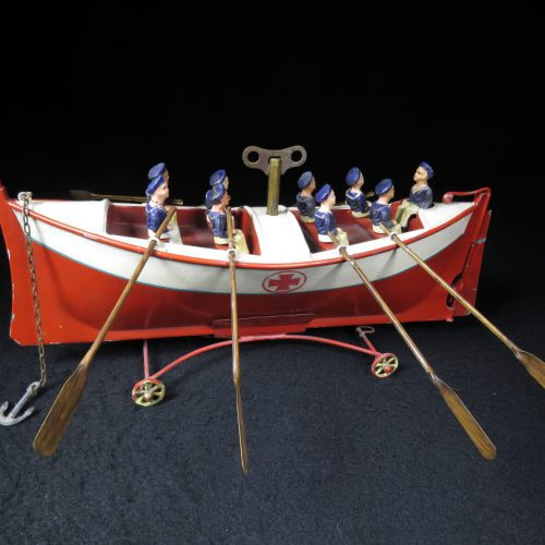 Vintage Antique Tin Lithograph 8 Man Skull Rescue Row Boat Ship Wind-up Toy Germany