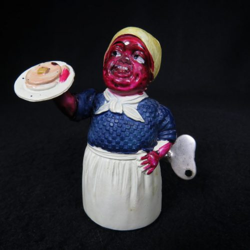 Vintage Antique Tin and Celluloid Black Americana Aunt Jemima with Pancakes Maid Wind-up Toy SS Prewar Japan