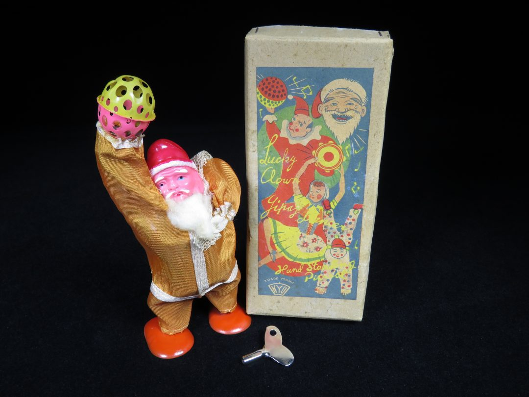 Vintage Antique Tin and Celluloid Bell Ringing Santa Claus Wind-up Toy KYO Occupied Japan