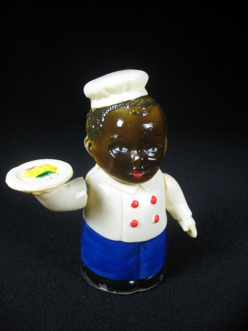 Vintage Antique Tin and Celluloid Black Chef Waiter Boy Americana Wind-up Japan Japanese