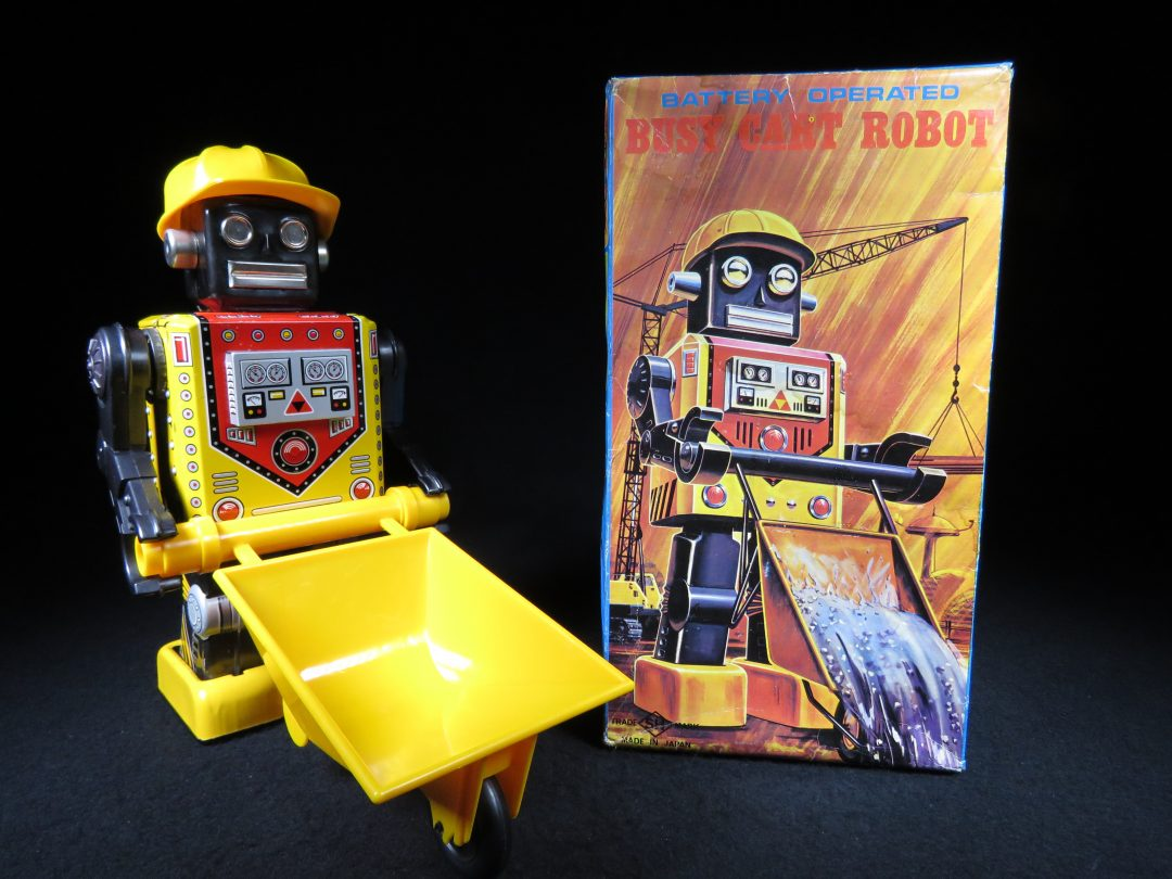 Antique Vintage Tin Lithograph Space Busy Cart Robot Battery Operated Toy Horikawa Japan