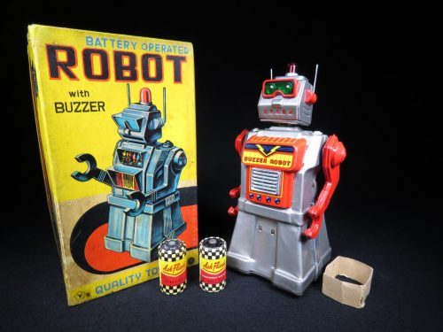 Antique Vintage Tin Lithograph Space Buzzer Robot Battery Operated Toy Yonezawa Japan Japanese