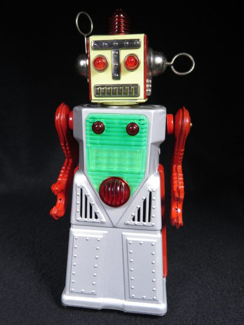 Antique Vintage Tin Lithograph Space Chief Robotman Robot Battery Operated Toy Japan