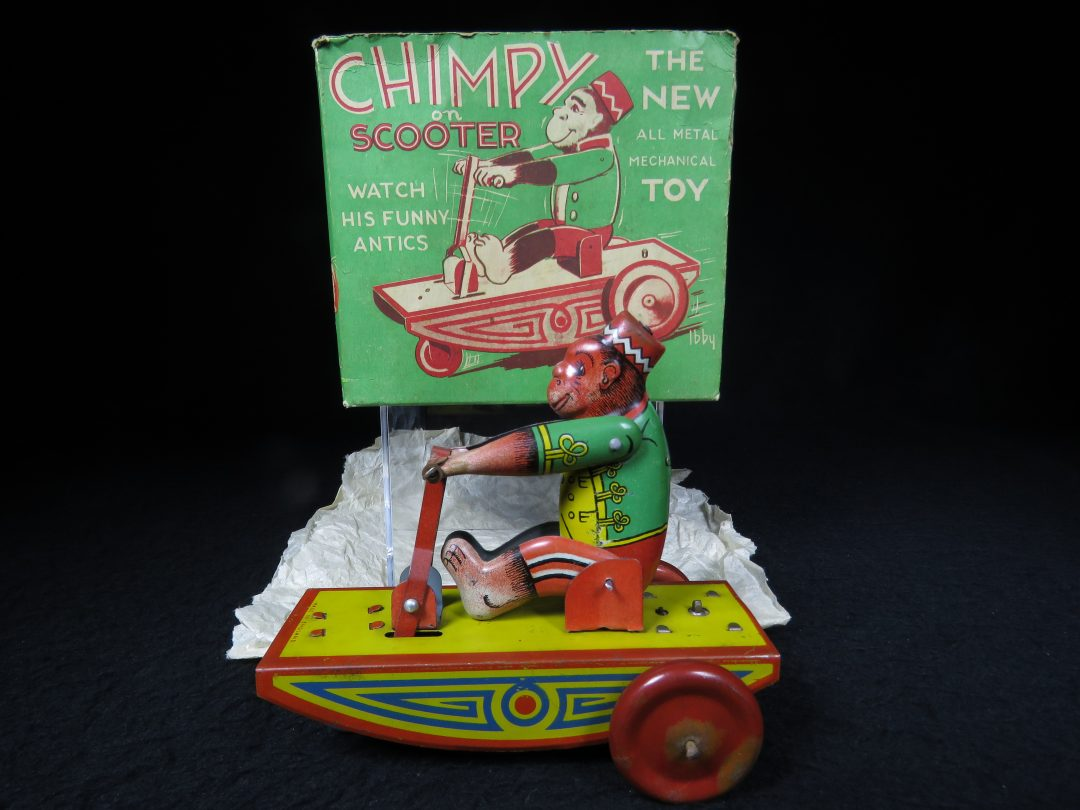 Vintage Antique Tin Lithograph Wind-up Circus Chimpy Bell Monkey Boy on Scooter Cart Bike Toy England