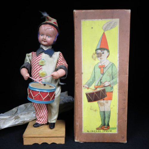 Vintage Antique Tin Celluloid Wind-up Circus Drumming Boy Toy Prewar Japan