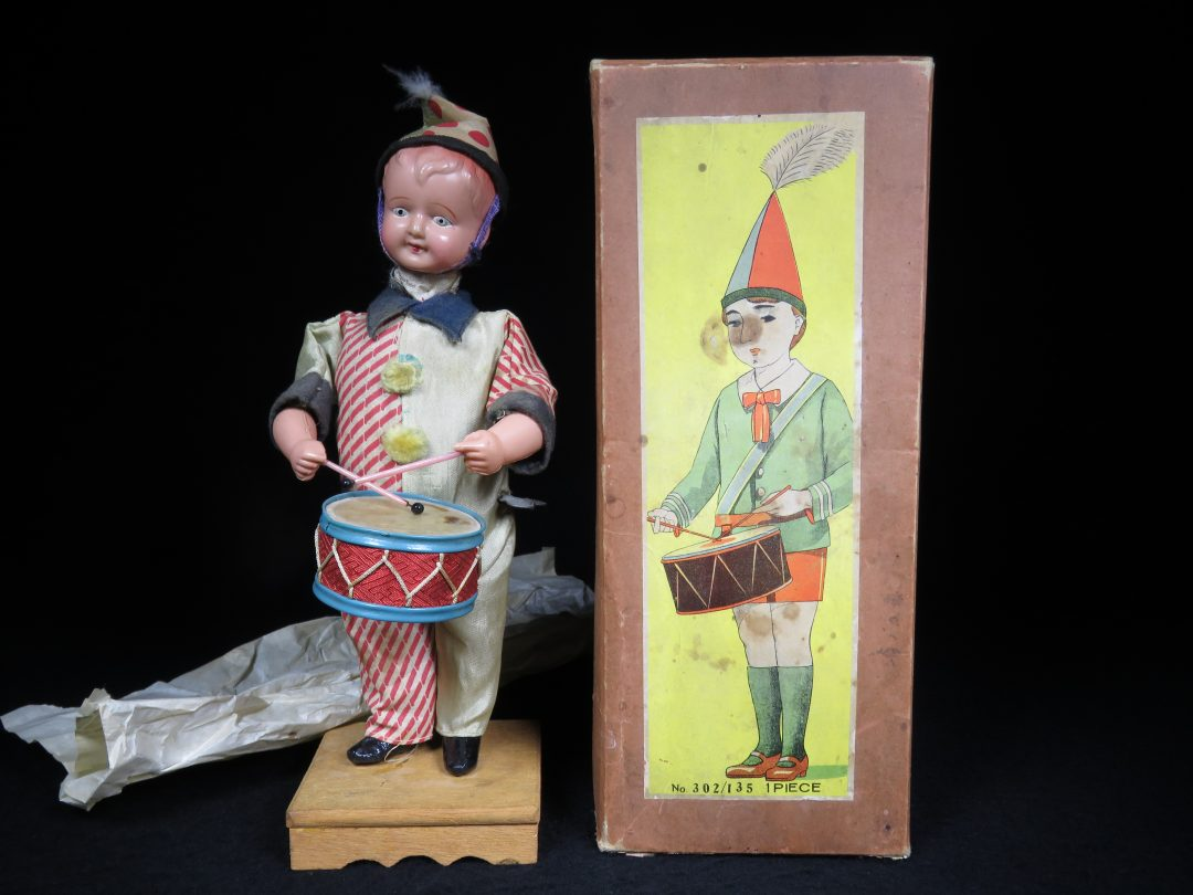 Vintage Antique Tin Celluloid Wind-up Circus Drumming Boy Toy Prewar Japan