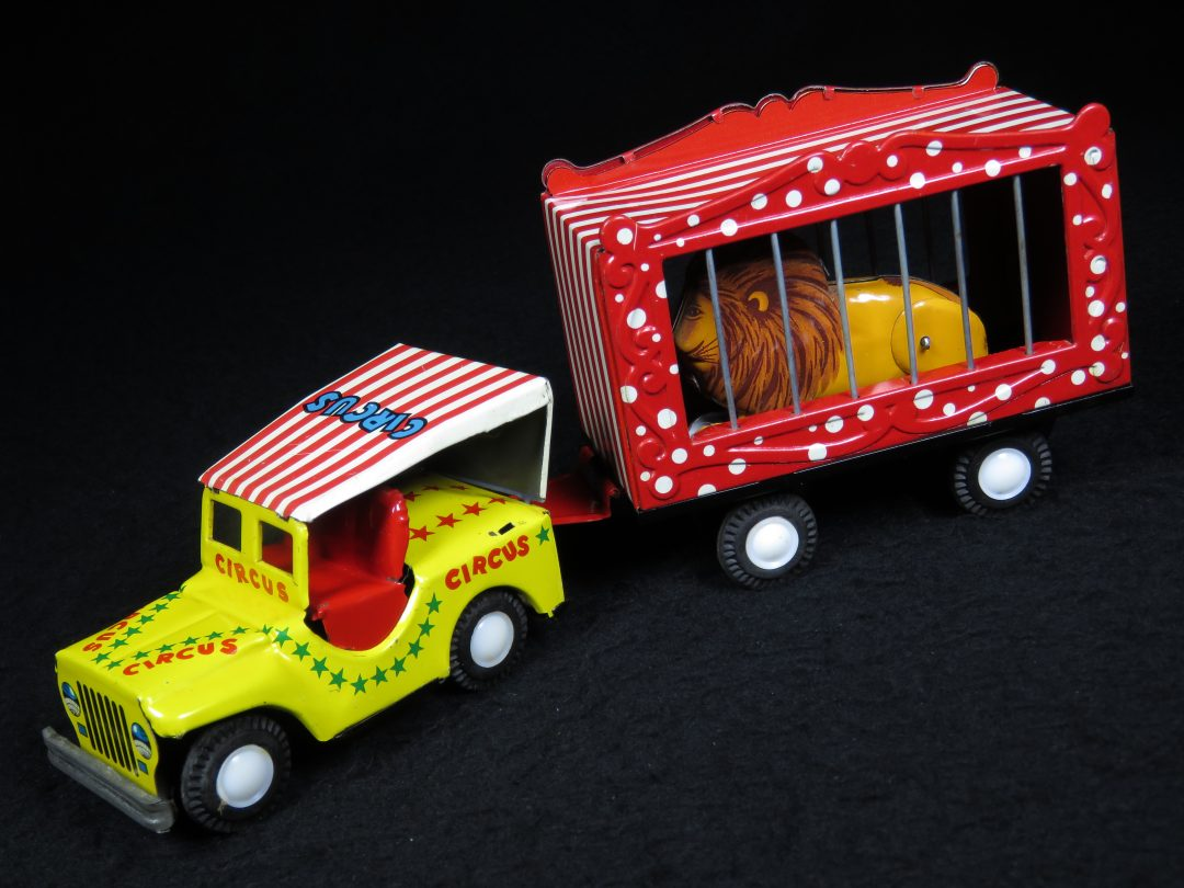 Vintage Antique Tin Lithograph Mechanical Friction Circus Lion Jeep and Trailer Car Toy SSS Japan