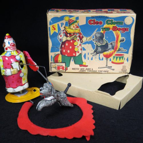 Vintage Antique Tin Lithograph Wind-up Cleo Clown Dog Poodle Circus Fire Hoop Toy TPS Japan