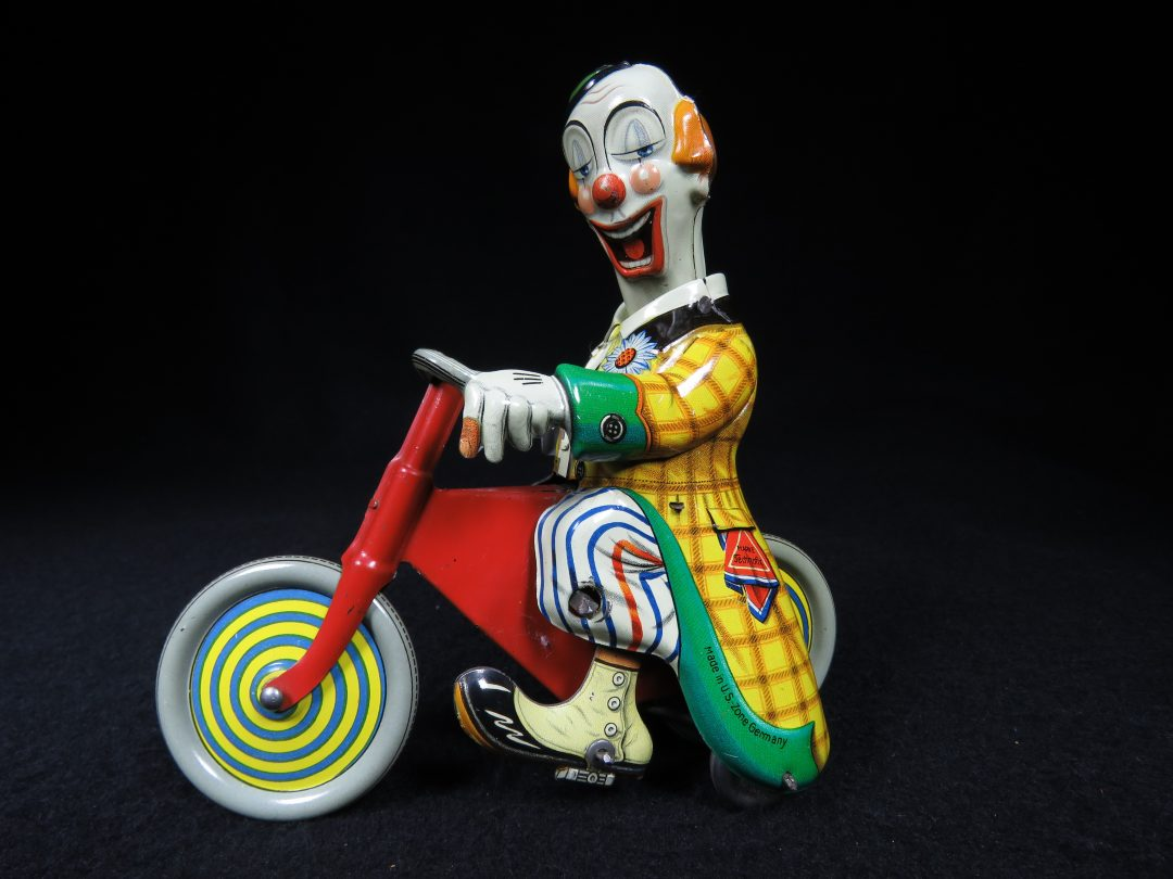 Vintage Antique Tin Lithograph Wind-up Circus Clown Tricycle Cycle Trike Bike Toy Technofix US Zone Germany