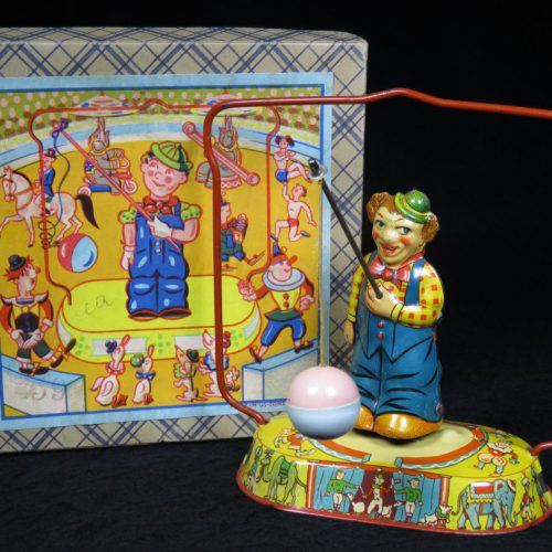 Vintage Antique Tin Lithograph Circus Clown Swinging Ball Wind-up Toy NBN US Zone Germany