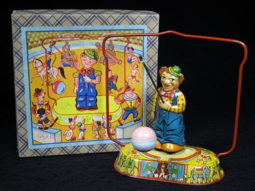 Vintage Antique Tin Lithograph Wind-up Circus Clown Swinging Ball Toy US Zone Germany
