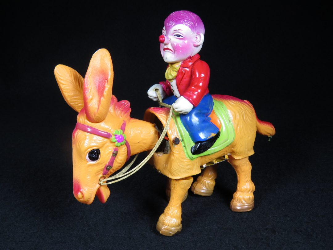 Vintage Antique Tin Celluloid Wind-up Circus Clown Riding Donkey Mule Horse Toy Japan