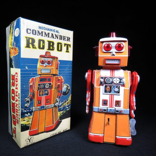 Rare Antique Vintage Tin Lithograph Space Commander Robot Wind-Up Toy Yonezawa Japan
