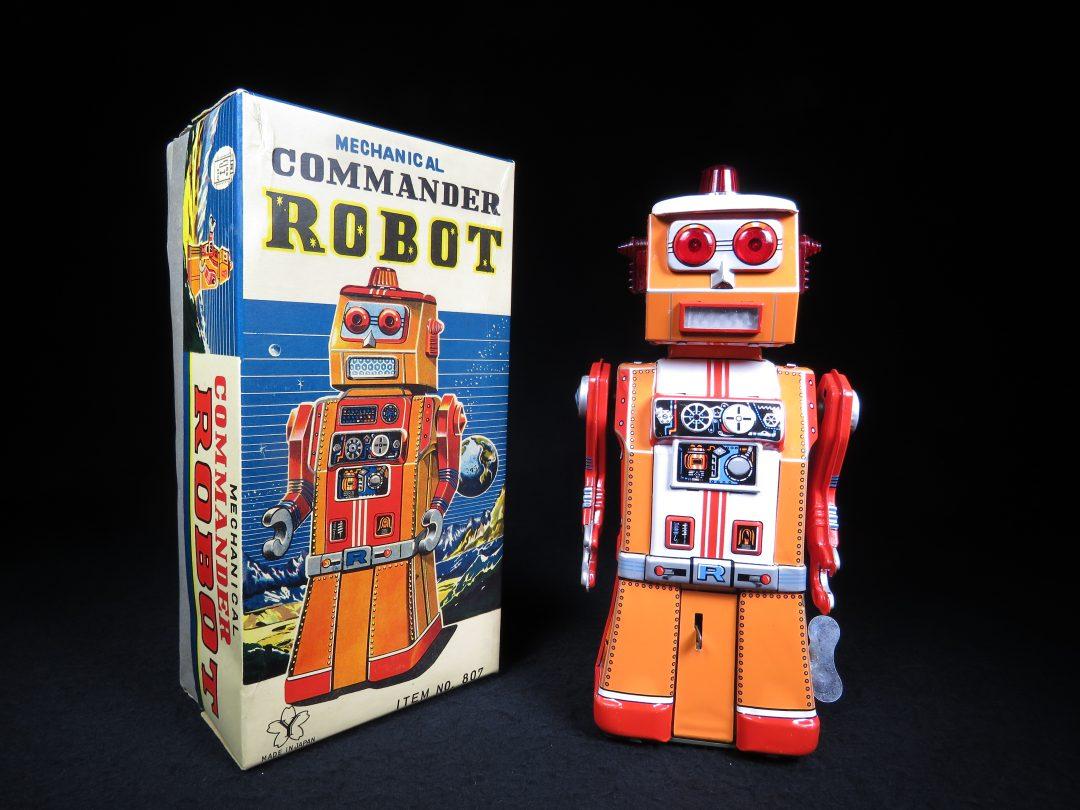 Rare Antique Vintage Tin Lithograph Space Commander Robot Wind-Up Toy Yonezawa Japan