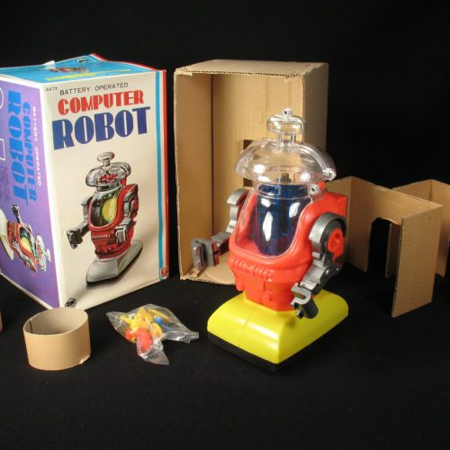 Antique Vintage Hard Plastic Space Computer Robot Battery Operated Toy Bandai Japan Japanese