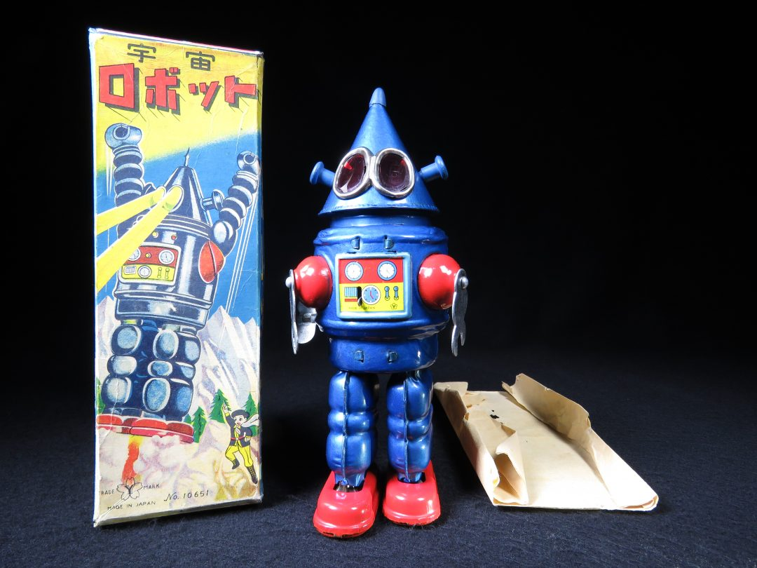 Rare Antique Vintage Tin Lithograph Space Cone Head Robot Wind-Up Toy Yonezawa Japan