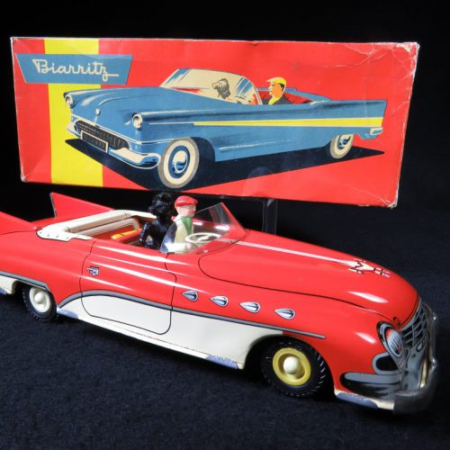 Vintage Antique Tin Lithograph Convertible Car with Driver and Poodle Dog Wind-up Toy Joustra France