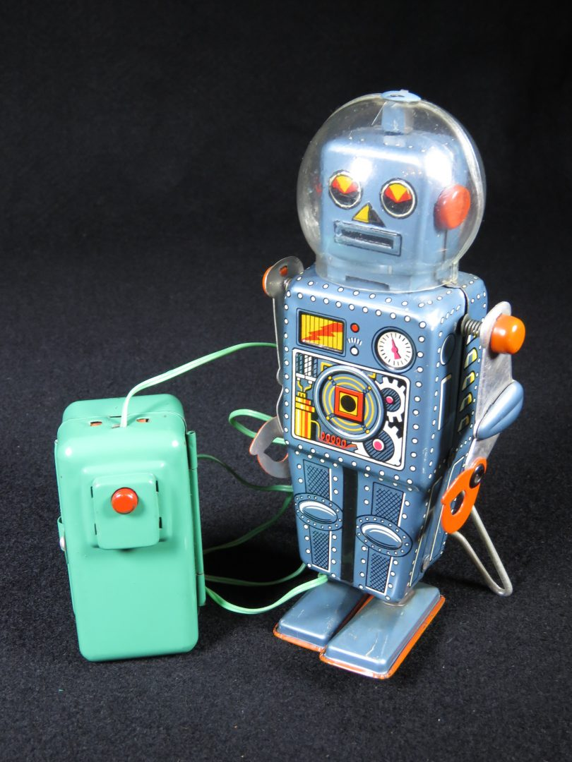 Antique Vintage Tin Lithograph Space Domed Easel Back Robot Battery Operated Toy Linemar Japan