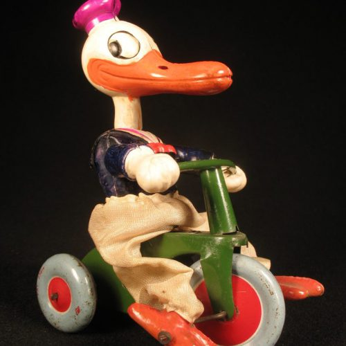 Vintage Antique Tin and Celluloid Donlad Duck Walt Disney on Trike Bike Wind-up Toy Masudaya Prewar Japan