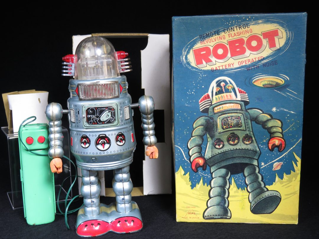 Antique Vintage Tin Lithograph Space Door Robot Battery Operated Toy ALPS Japan