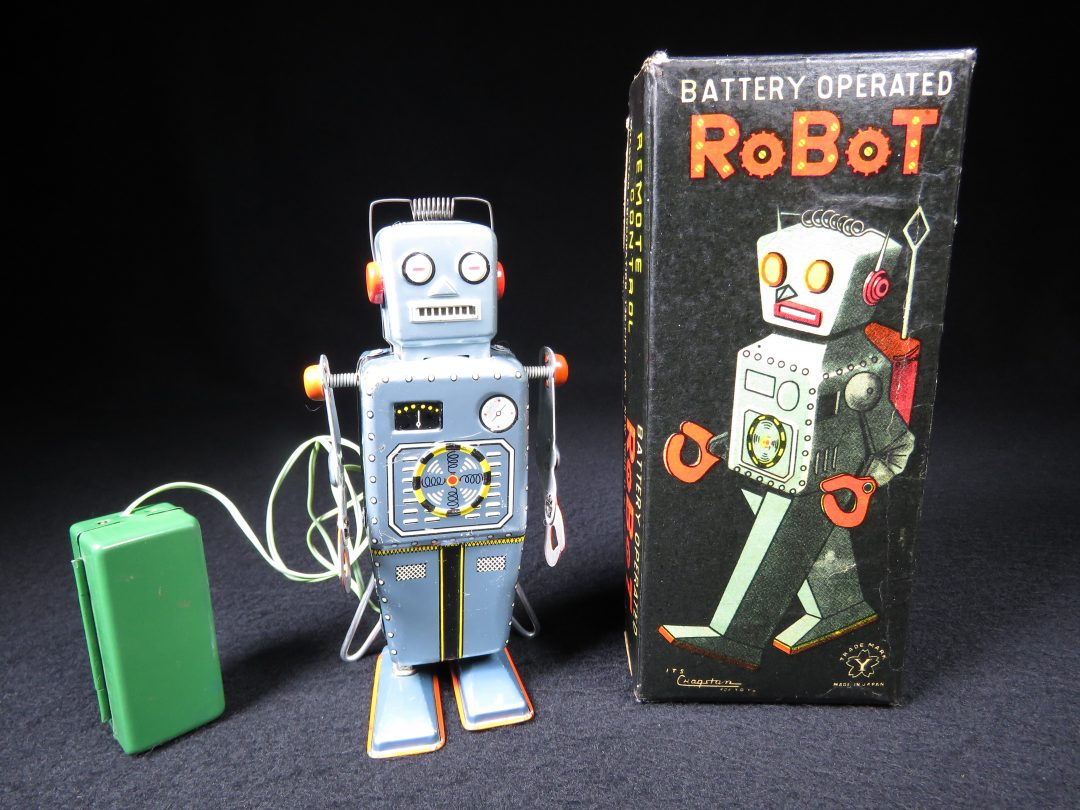 Antique Vintage Tin Lithograph Space Easel Back Robot Battery Operated Toy Yonezawa Japan