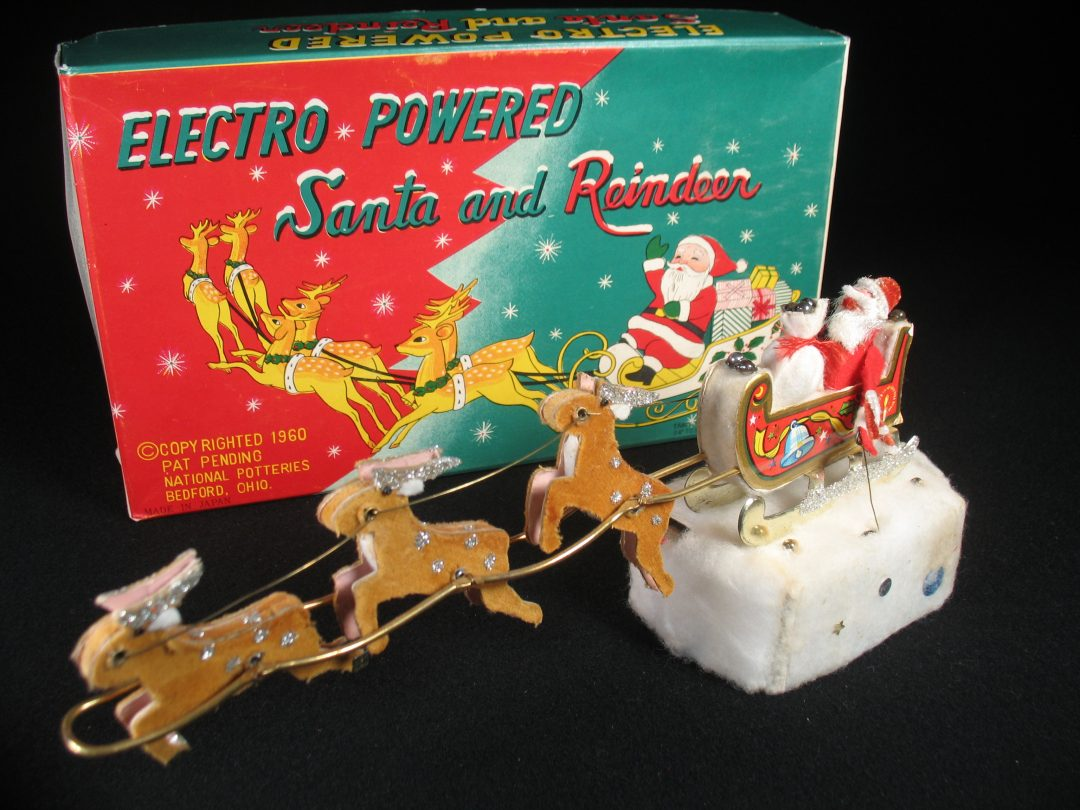 Vintage Antique Tin Lithograph Battery Operated Electro Powered Santa Claus and Reindeer Toy Japan