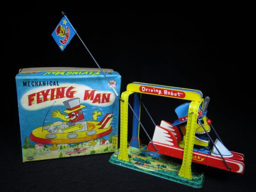 Antique Vintage Tin Lithograph Space Flying Man Robot Wind-Up Toy Japan