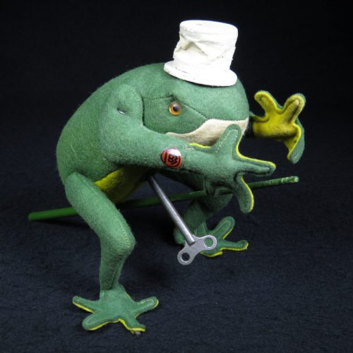 Vintage Antique Tin Felt and Tin Frog with Top Hat Wind-up Toy Bing Germany