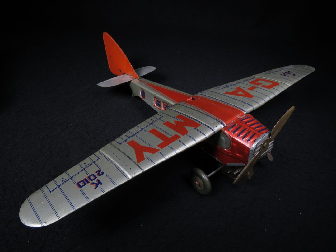 Vintage Antique Tin Lithograph G-A-MTY Early Air Plane Wind-up Toy Met Toy Great Britain