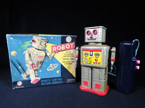 Antique Vintage Tin Lithograph Space Golden Robot Battery Operated Toy Linemar Japan