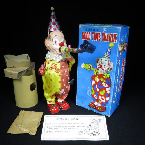 Vintage Antique Tin Lithograph Good Time Charlie Circus Clown Toy ALPS Japan