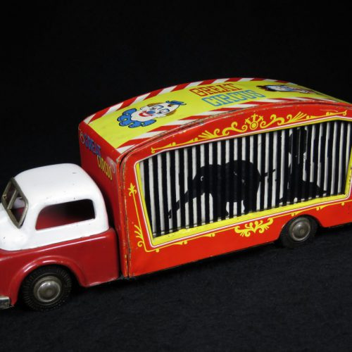 Vintage Antique Tin Lithograph Wind-up Great Circus Flicker Truck Elephant Seal Lion Toy T.N Nomura Japan