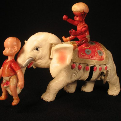 Vintage Antique Tin and Celluloid Henry on Elephant Wind-up Toy Borgfeldt Koyo Japan