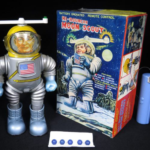 Antique Vintage Tin Lithograph Space Hi-Bouncer Moon Scout Astronaut Robot Battery Operated Toy Marx Japan