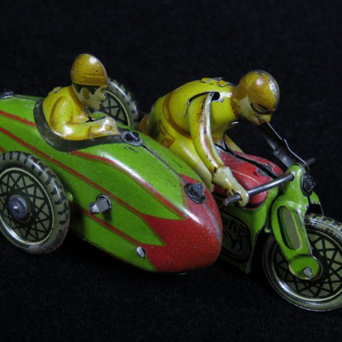 Vintage Antique Tin Lithograph Motorcycle Bike with Sidecar and Riders Vehicle Wind-up Toy Paya Spain