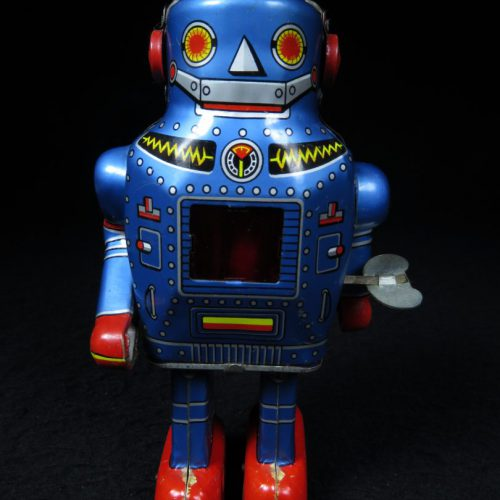 Antique Vintage Tin Lithograph Independent Leg Sparky Space Robot Wind-Up Toy Japan