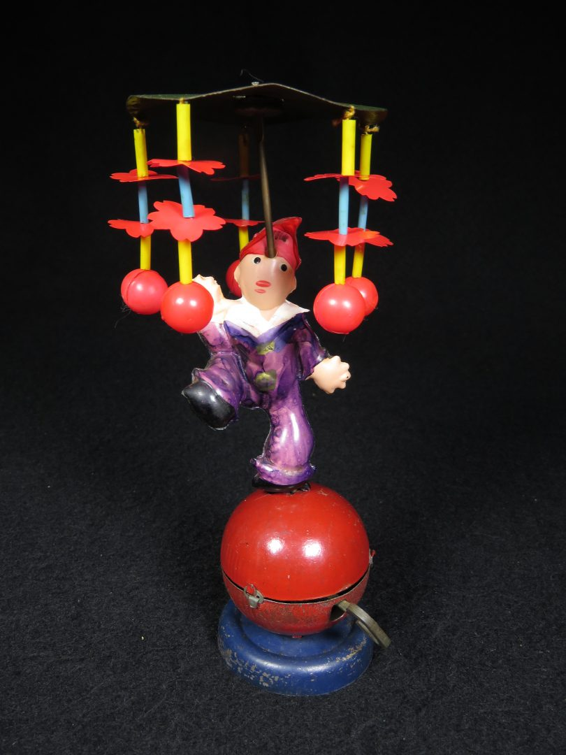 Vintage Antique Tin Celluloid Wind-up Circus Koko Clwon on Large Red Ball Toy Prewar Japan