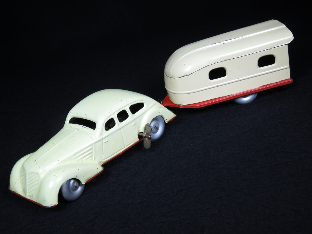Vintage Antique Tin Lithograph Limo Car and Trailer Vehicle Wind-up Toy Distler Germany