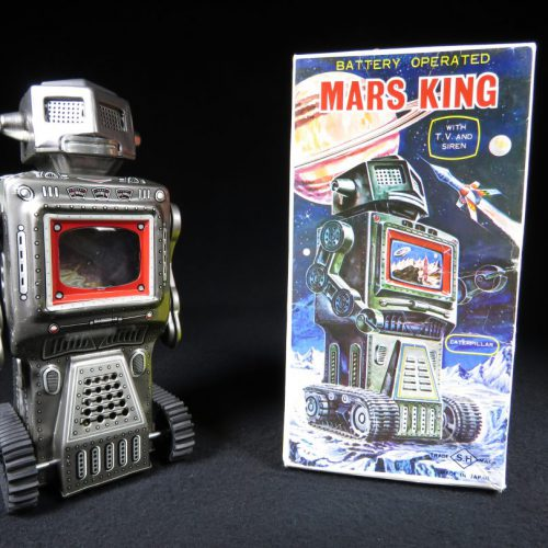 Antique Vintage Tin Lithograph Space Mars King Robot Battery Operated Toy Horikawa Japan Japanese